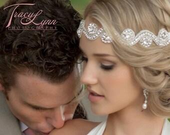 Sale! Wedding Band Vintage Style Crystal Beaded Swirl Stone Headband Head Piece Photo Prop