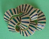CINER Green Enamel and Rhinestone Pin 1950s Vintage