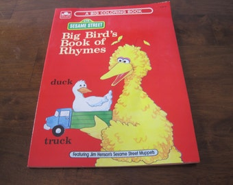 Vintage Sesame Street coloring book, unused, Big Bird's Book of Rhymes