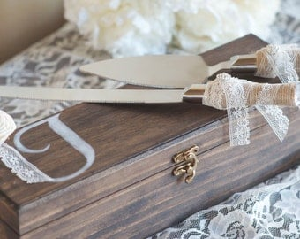 Rustic Wedding Cake Knife and Server with Wooden Keepsake Box by Burlap and Linen Co
