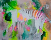 Abstract Colorful Painting Tasmanian Tiger Art on Canvas by Julie Robertson 16 x 20