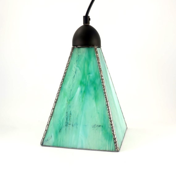 Green Glass Pendant Light Stained Glass Hanging By