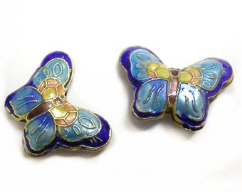 2pc 23x17mm handmade butterfly Cloisonne Beads-2549