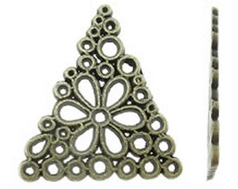 10pc 26x23mm antique bronze finish triangular metal connector/pendants-8477