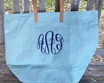 Monogrammed Jute Tote with Leather Handles / Monogrammed Jute Bag / Wedding Party Gift / Bridesmaids Gift