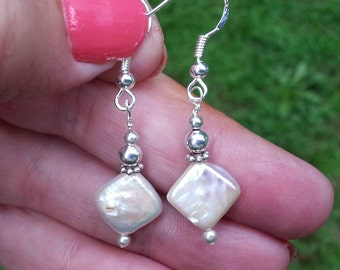 Delicate Diamond Pearl and Silver Dangle Earrings