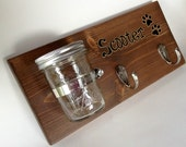 CUSTOM STAINED Wood DOG Leash/Treat Holder/Key Holder