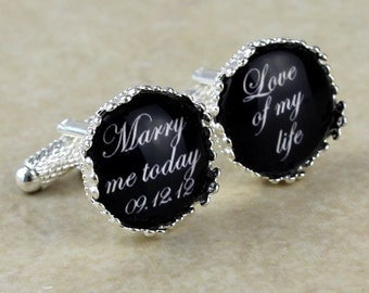 A Pair of Custom Cuff Links, Personalized father of the bride wedding date cufflinks, Wedding cuff links