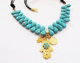 turquoise stone necklace-Hand of Fatima pendant-chunky necklace