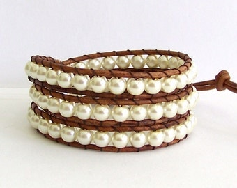 Pearl Leather Wrap Bracelet - Beach Jewelry, Pearls, Natural Leather - Bohemian Beach Cottage Jewelry