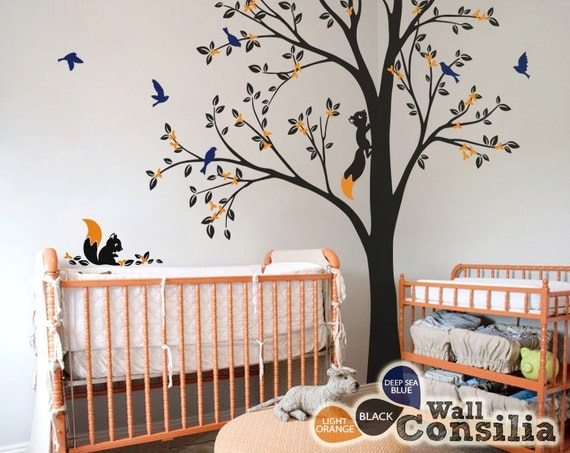 Baum wand aufkleber kinderzimmer wanddekoration baum for Large tree template for wall