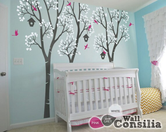 baby kinderzimmer wand decals vogelhaus b ume aufkleber. Black Bedroom Furniture Sets. Home Design Ideas