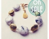 SALE - Grey Howlite and Gold Charm Bracelet