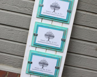 Picture Frame - Distressed Wood - Holds 3 - 4x6 Photos - Double Mats - White with Seafoam Green & Aqua Mats