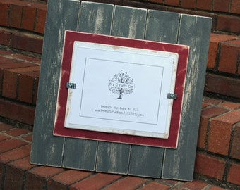 8x10 Picture Frame - Distressed Wood - Double Mats - Holds an 8x10 Picture - Gray, Crimson Red & White