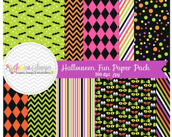 INSTANT DOWNLOAD, halloween fun digital papers, halloweeen backgrounds, for commercial and personal use, digital scrapbooking, invitations
