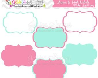 INSTANT DOWNLOAD,  aqua and pink digital labels, printable label, tags, frames, invites, cards, scrapbooking