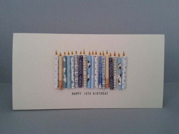 18th Birthday Candle Card with 18 paper candles, Male. Can be