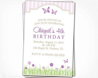 Butterfly Invitation -  Printable Purple Flower Garden Party Girl Birthday Party Invite