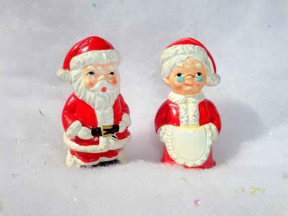 Vintage Brinn's Salt and Pepper Shakers Santa and Mrs. Claus Christmas Japan