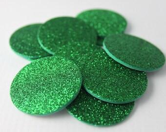 Green Glitter Foam Circle - Adhesive Back- Stickers, Seals