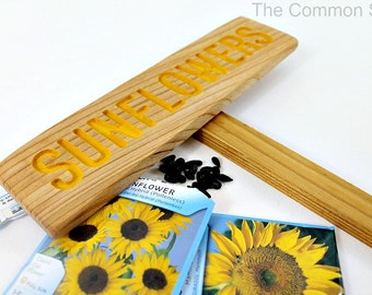 SUNFLOWERS Garden Sign, Painted & Oil Sealed Ceder Wood: Hand Routed, Plant Marker, Custom Garden Sign, Personalized Garden Marker