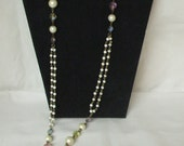 Long Necklace With Faux Pearls And Glass Stones
