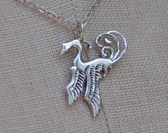 Phoenix Necklace - solid sterling silver pendant and chain