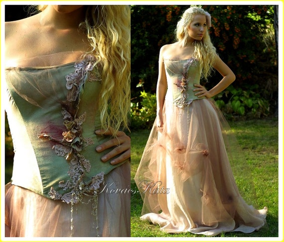 Items similar to magical woodland fairy silk fantasy for Woodland fairy wedding dress