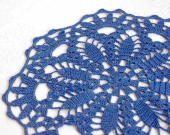 SALE 10% OFF: Crochet doily Blue round lace doily Handmade cotton centerpiece crochet doilies Table decoration