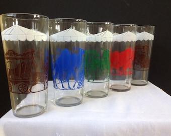 Circus Theme Glass Tumblers, Bar Ware, Swanky Swigs, Set of Five - 1950's