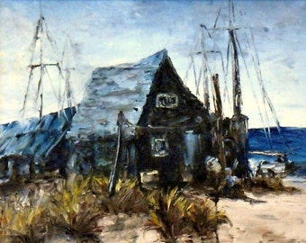 "Fine Art, Print of my Landscape Painting ""Fishing Shack"""