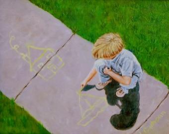 "Fine Art Print of my Original 8 X 10 Oil Painting, ""Sidewalk Artist"""
