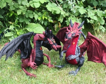PDF sewing pattern for poseable dragon art doll, textile sculpture, plushie, cosplay, fantasy, d&d