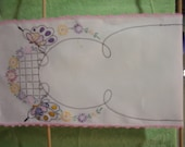 Embroidered Linen Dresser Scarf, 22 1/2 x 40,  to use or cut up for sewing project because of several  light stains in the white area.