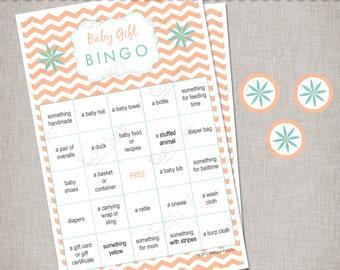 Unisex Baby Shower Bingo - Peach & Mint INSTANT DOWNLOAD