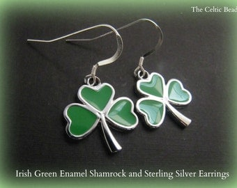Irish Green Enamel Shamrock and Sterling Silver Earrings