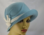 Cloche Baby blue / Women's Cloche / 1920s Flapper hat / Gatsby Style hat