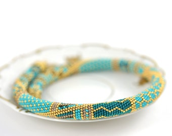 Samarqand - Bead Crochet Necklace Turquoise  Blue  Brown  Yellow 24K Gold  Geometric Modern  Beadwork Jewelry  Made to order