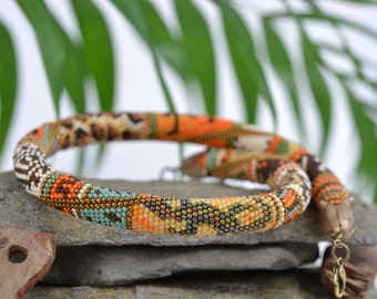 African adventure - Bead Crochet Necklace Yellow  Orange  Green  Brown  Blue  White  Beadwork  Tribal  Folk  Multicolors  Made to order