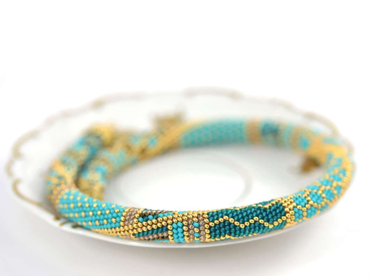 Samarkand Perle häkeln Halskette türkis blau braun von LeeMarina