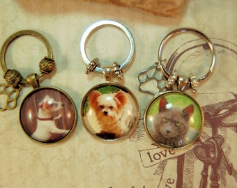 Pet Photo Key Ring Personalized Custom Glass Tile Hissy Fits Key Chain Gift  for Friend Family