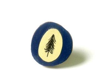 Hand Illustrated Paper Natural Tree Navy Blue Bark Ring