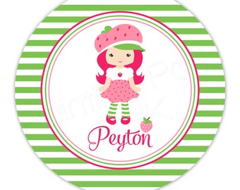 "Little Strawberry Girl Personalized 10"" Melamine Plate, 20 oz. Bowl or 2 Piece Set 