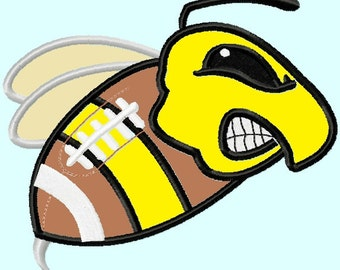 Hornet Mascot on Football Applique Embroidery Designs 4 sizes,    hoops 4x4 5x7 6x10 INSTANT DOWNLOAD