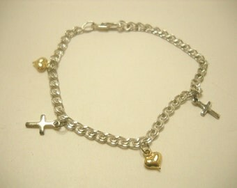 Silver Tone, Hearts & Crosses Bracelet (0258) Perfect for Young Ladies!!