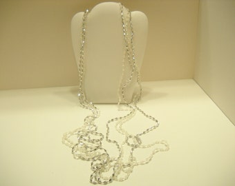 """50"""" Silver & White Plastic Beaded Four Strand Necklace (5212)"""