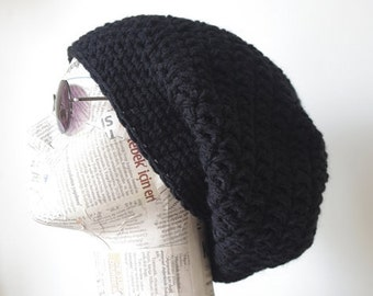 woman Hats, GIFT for Womens hat - Chemo Hat chunky knit Slouchy black Beanie Slouch Hat Fall Winter Beanie Autumn
