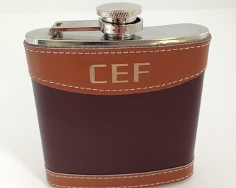 Groomsman Gift Flaks Leather Wrapped Flask Two Tone Brown Monogrammed Wedding Flask