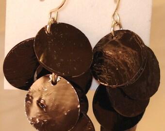 Black Shell Cluster Earrings